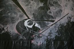 Aapua, teckning på presenning av Gerd Aurell